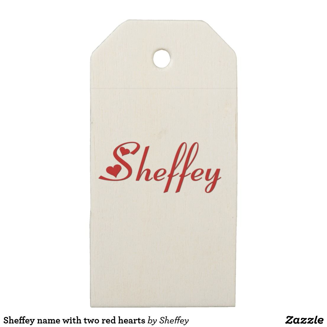 Sheffey name with two red hearts wooden gift tags