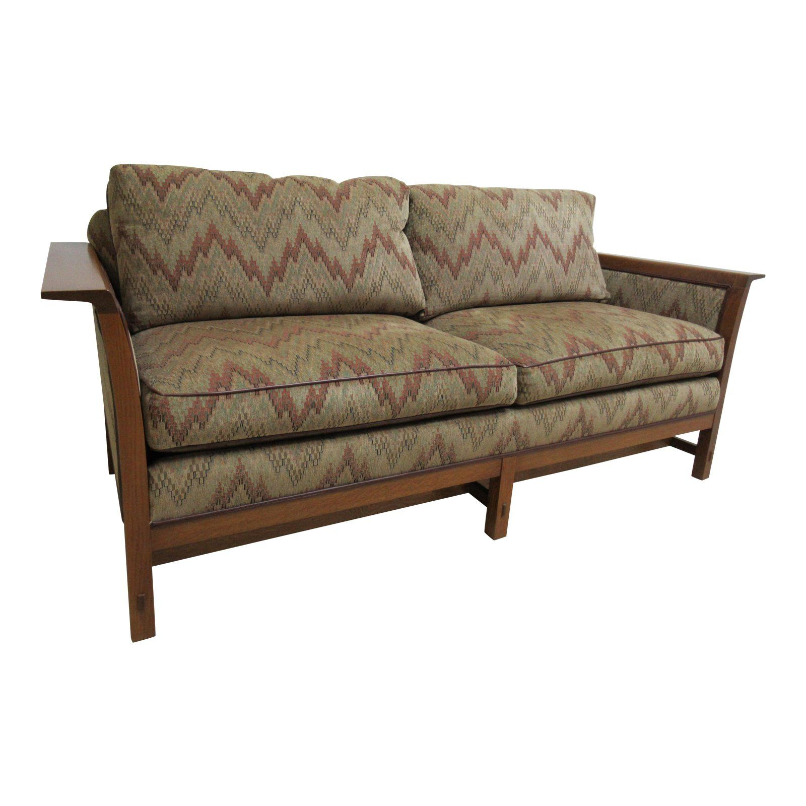 Stickley Mission Arts Crafts Tiger Oak Sofa Couch Settee In 2019