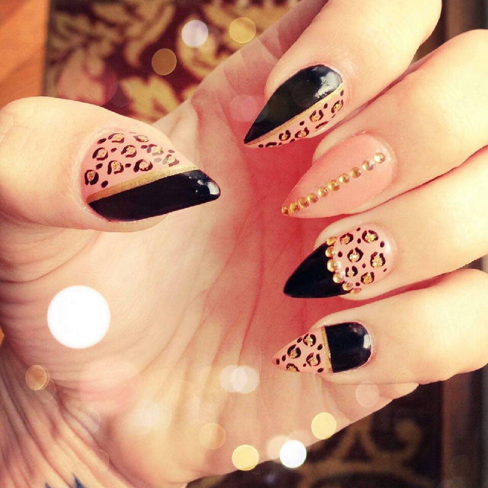 Nude and black cheetah nails with stones | NAILS♡ | Pinterest ...