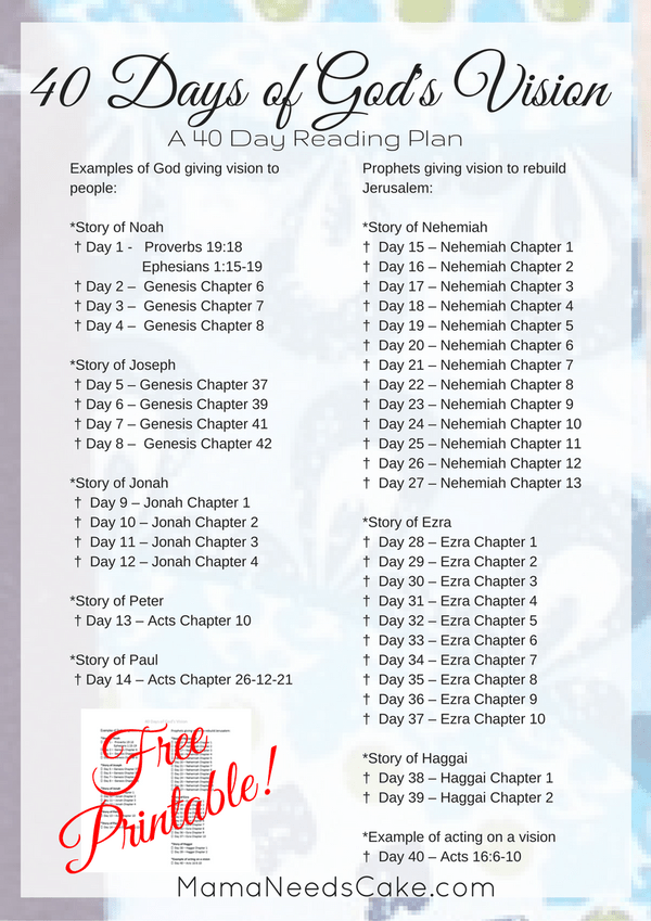 40 Days of God's Vision - Reading Plan & Free Printable | religous