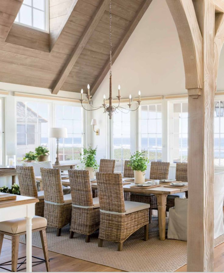 St Barth Or Caribbean Style To Relax In A Peaceful And Charming Decor Our Online Design Services Can Help You Ach Farmhouse Dining Room Farmhouse Dining Home
