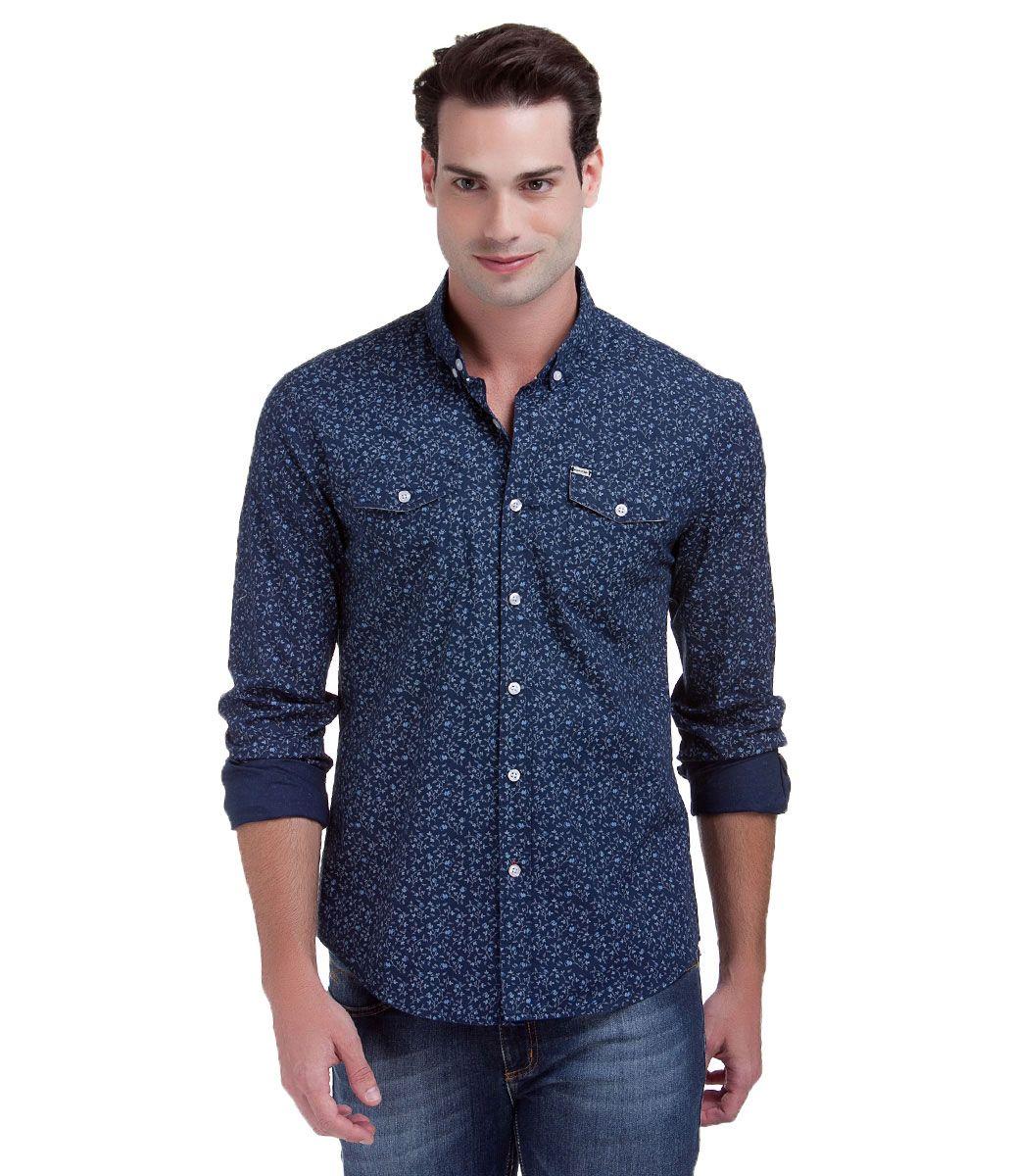 Camisa masculina manga longa estampada  53193948c88