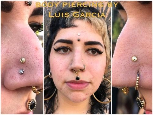 Month Old High Nostril Piercings On Funeralbitch With 18kt Yellow Gold Hera Ends From Anatometalinc High Nostril Piercing Piercings Facial Piercings
