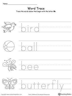 Words Starting With Letter B  Worksheets Activities And School