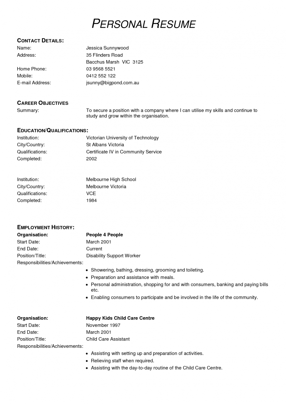 Resume template: VCE + work experience