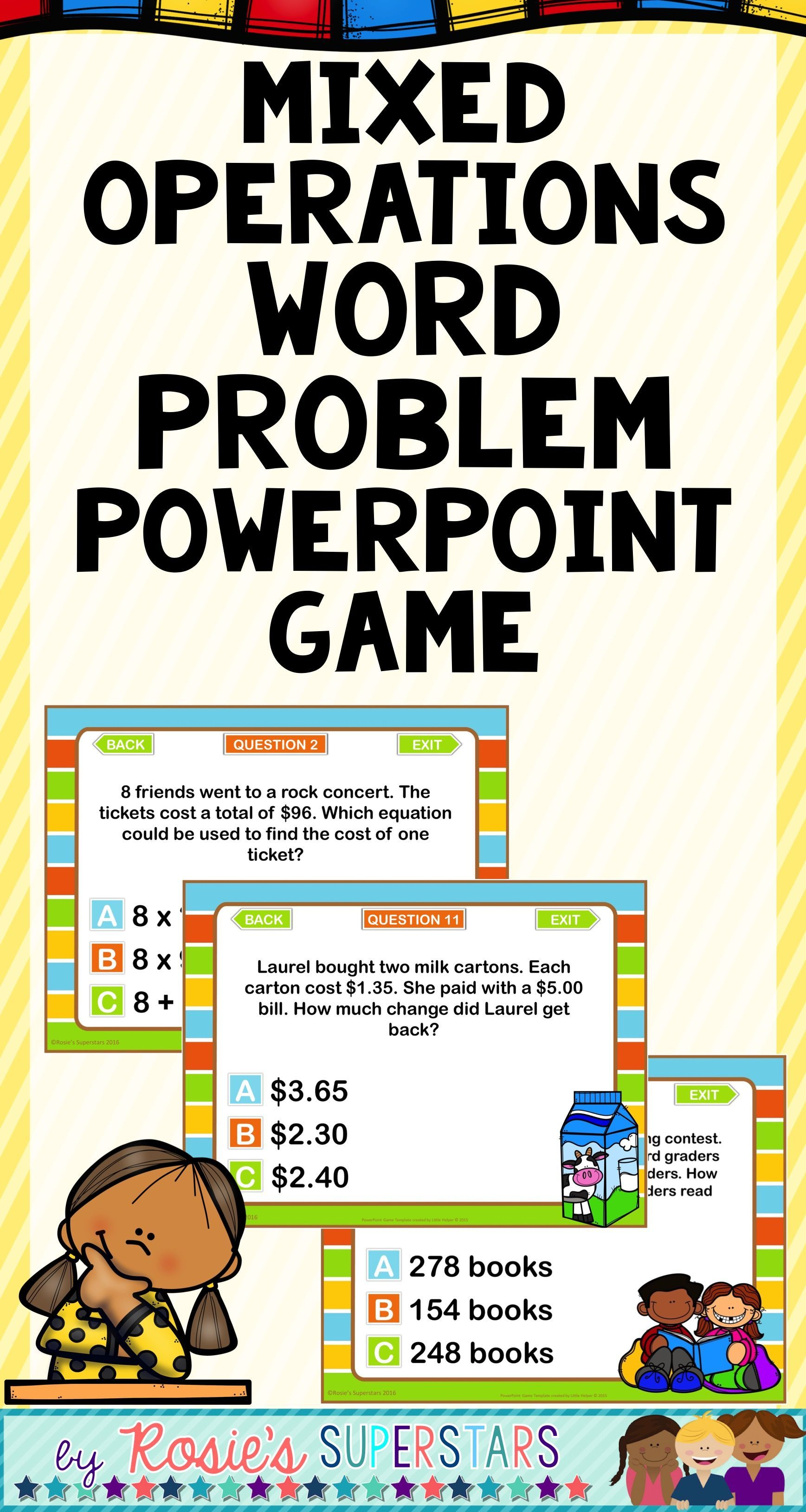 Fun Word Problem Practice This 3rd Grade 20 Problem Math Game Includes Single And Multistep Problems T Word Problems Word Problem Practice Mixed Word Problems [ 3258 x 1737 Pixel ]