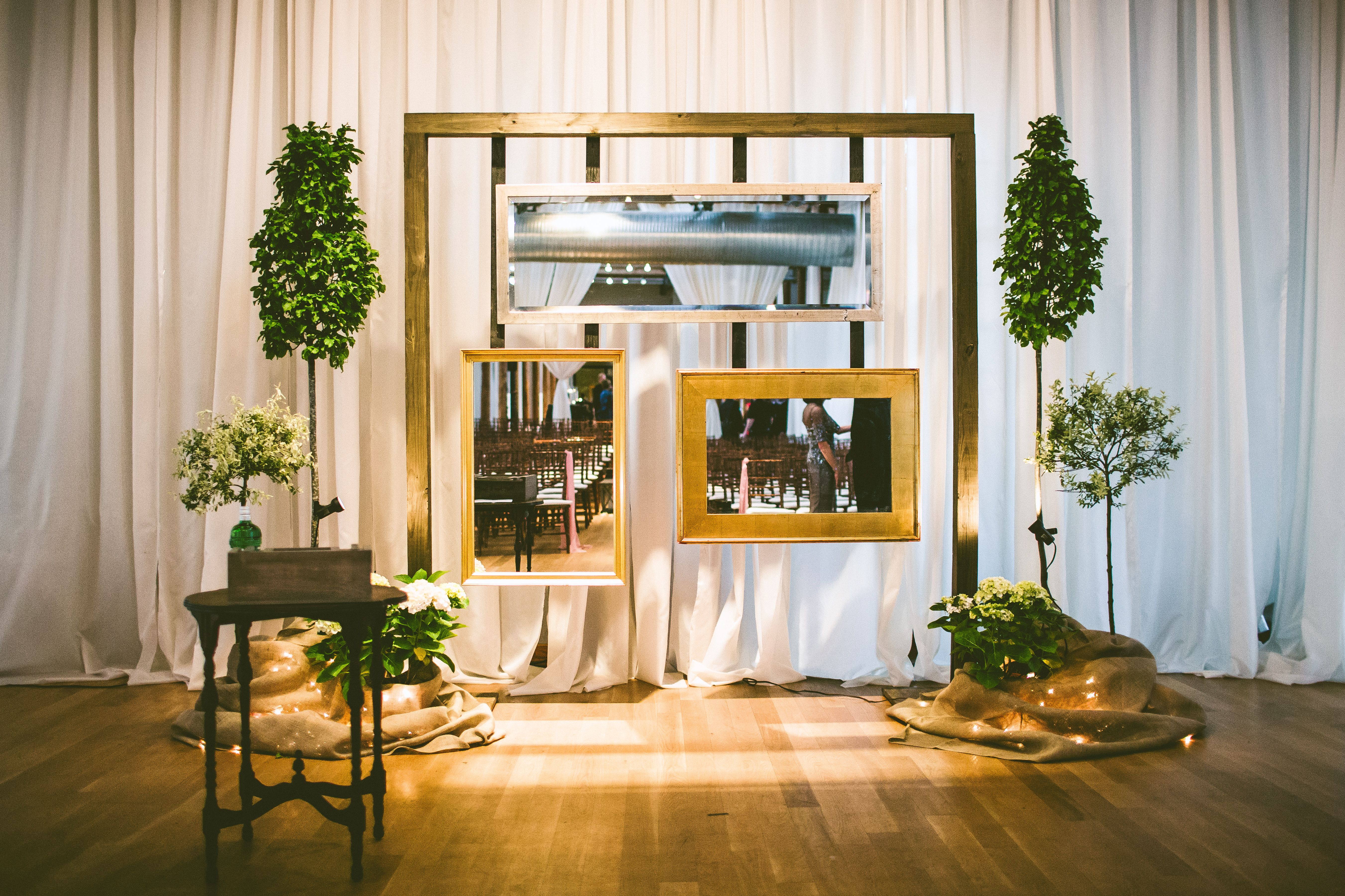 Diy framed mirror wedding alter decor photobooth idea pinterest