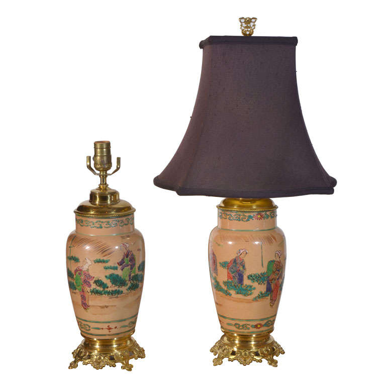 Asian pair hand painted electrified oil lamps oil lamps and oriental for sale on asian hand painted electrified oil lamps mounted on original ornate brass bases aloadofball Gallery