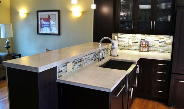 Loving The Dark Cabinets With White Concrete Countertops