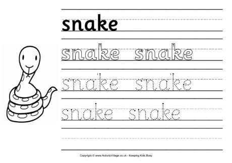 Snake handwriting worksheet | Lesson Plans: Reptile Unit | Pinterest ...