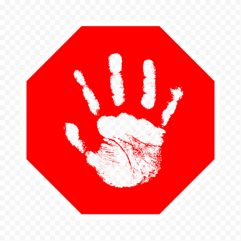 Hd Outline Hand Print On Red Stop Sign Png Print Stop Sign Png