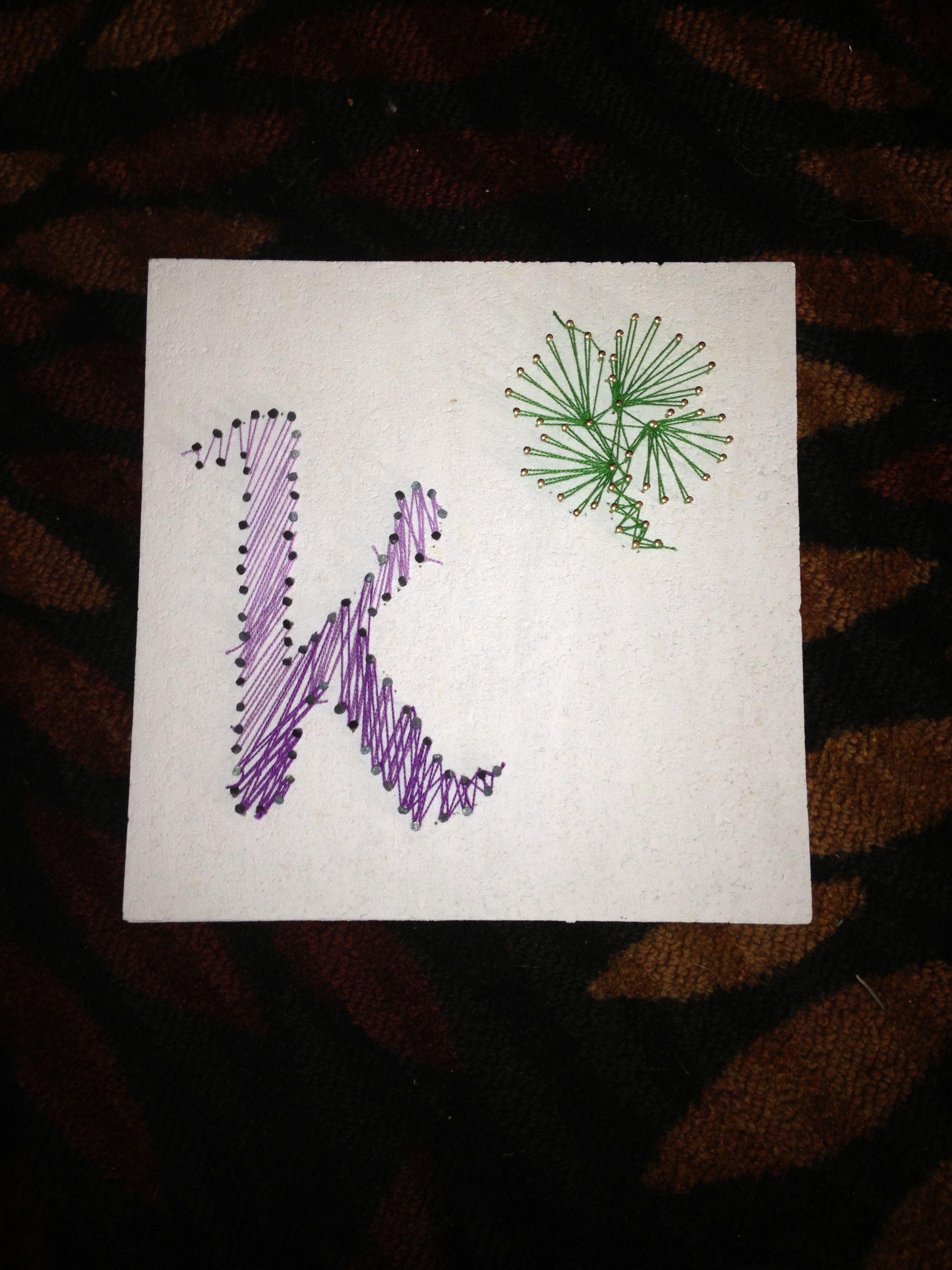 Avalisa letter upper case t stretched wall art - String Art Ombr Letter K In Celtic Font With Four Leaf Clover