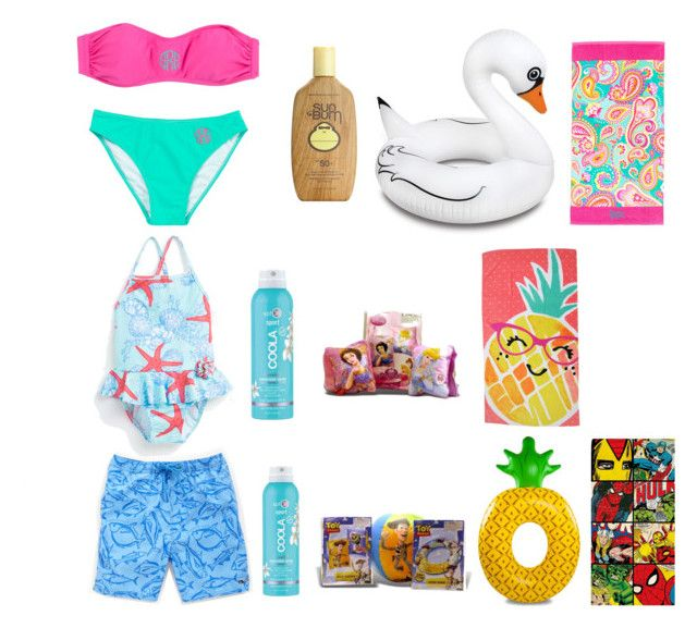 """""""Future kids/pool day"""" by sydneefashion on Polyvore featuring Zara, Sun Bum, COOLA Suncare, Disney, Big Mouth, Evergreen and Marvel"""