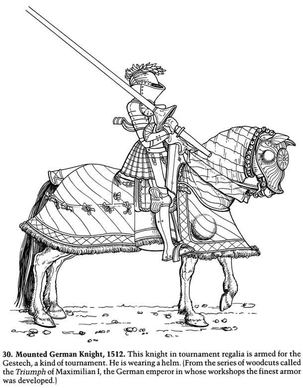 Knights In Armor Fun Kit 4 Sample Pages Horse Coloring Pages
