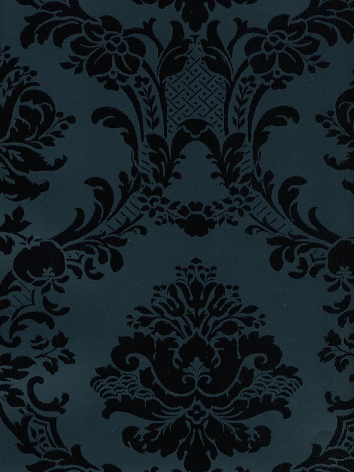 Navy And Black Damask Wallpaper