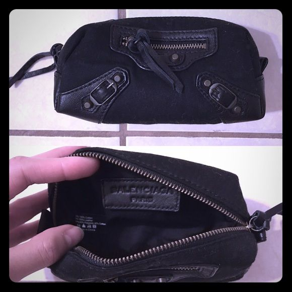 """Balenciaga Cosmetic Pouch Never used in great condition. Canvas with black leather trim. Bag dimensions approx. 6.25x2.5x3.5"""" (LxWxH) Balenciaga Bags Cosmetic Bags & Cases"""