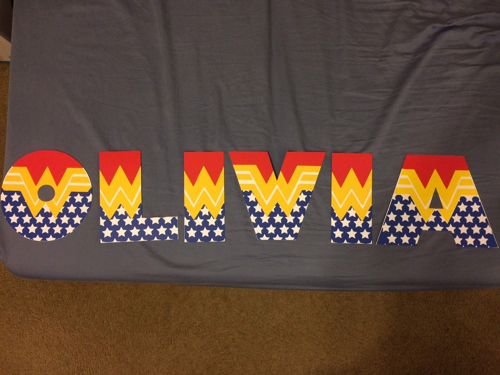 superhero wonder woman themed cardstock letters