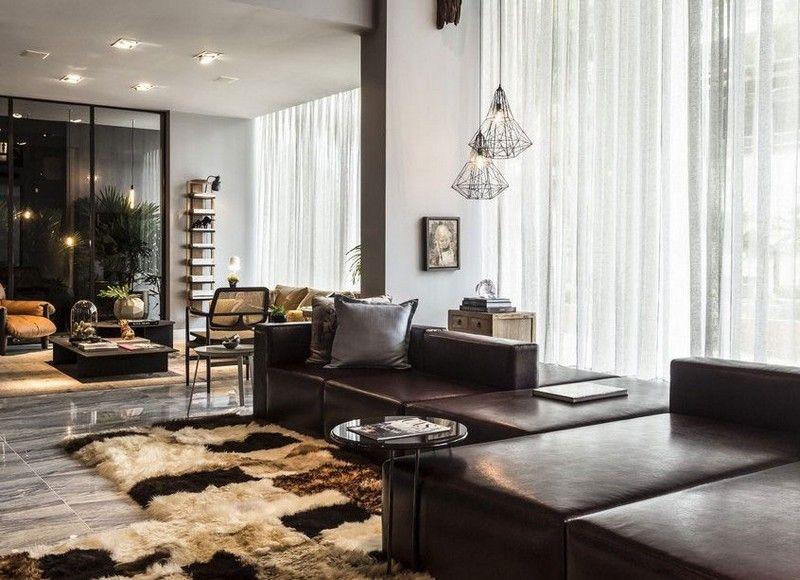 Wohnzimmer mit Dunkelbraun-Wohnlandschaft und Patchwork Teppich - teppich wohnzimmer braun