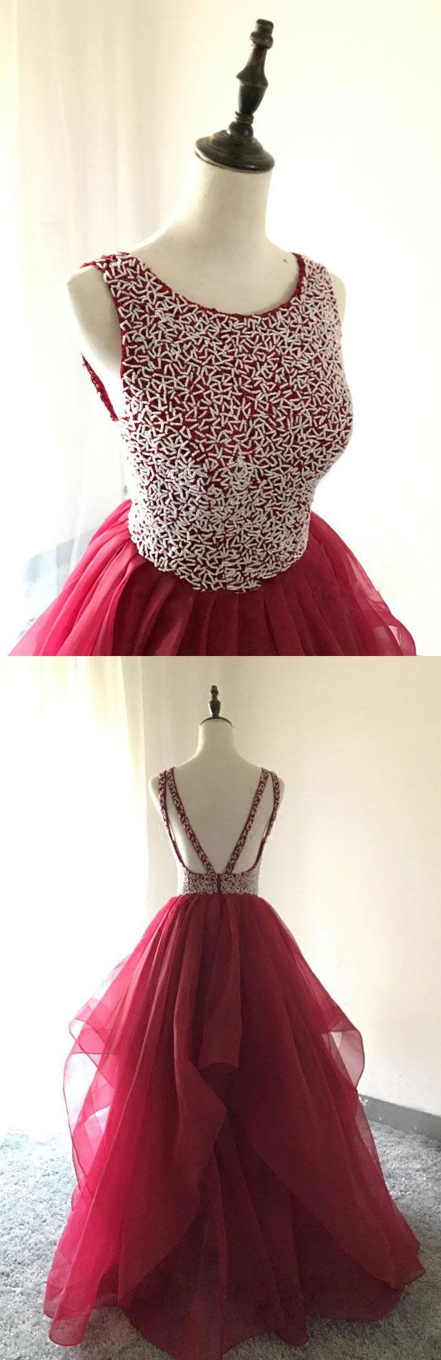 Beaded long prom dresses dresses for women red backless prom
