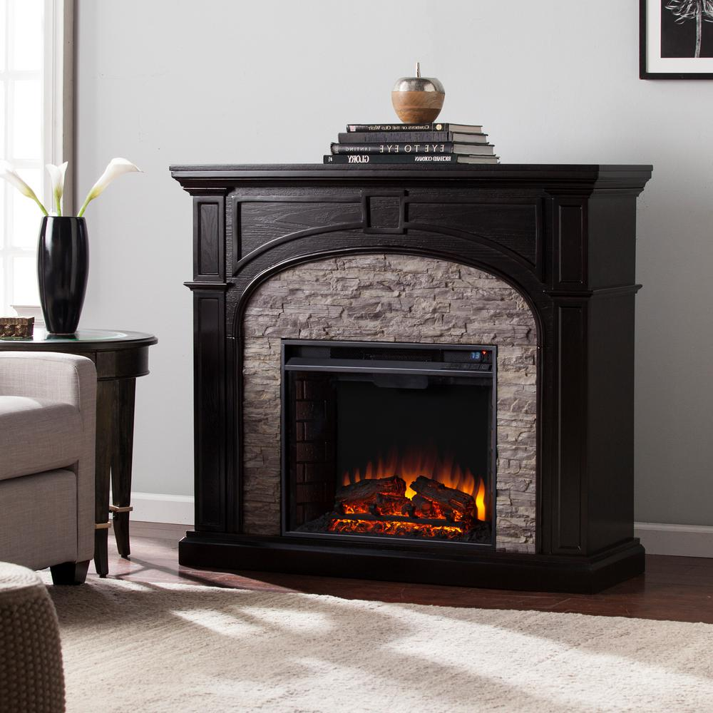 Granby 45 75 In W Electric Fireplace In Ebony With Gray Stacked