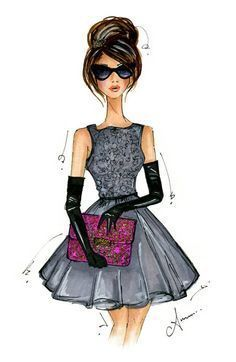 Fashion Drawings. Clutch. Sunglasses.