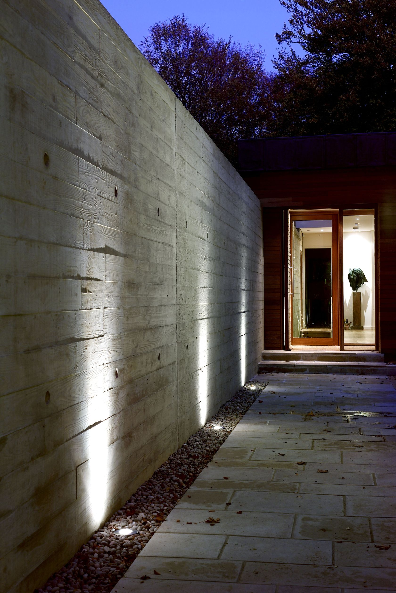 Stoney Cross Low Energy House Exterior Wall Design Modern Exterior Lighting Exterior Lighting
