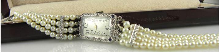 pearl and diamond bracelet watch