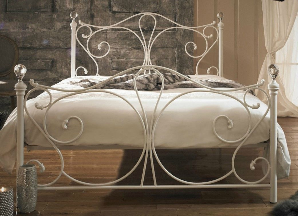 Victorian Style Metal Bed Frame White King Size French Bed
