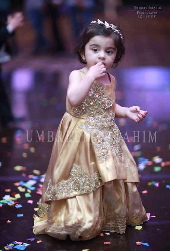 Golden embroidered baby girls sharara dress designs 2018 for wedding party 35177c4c221c