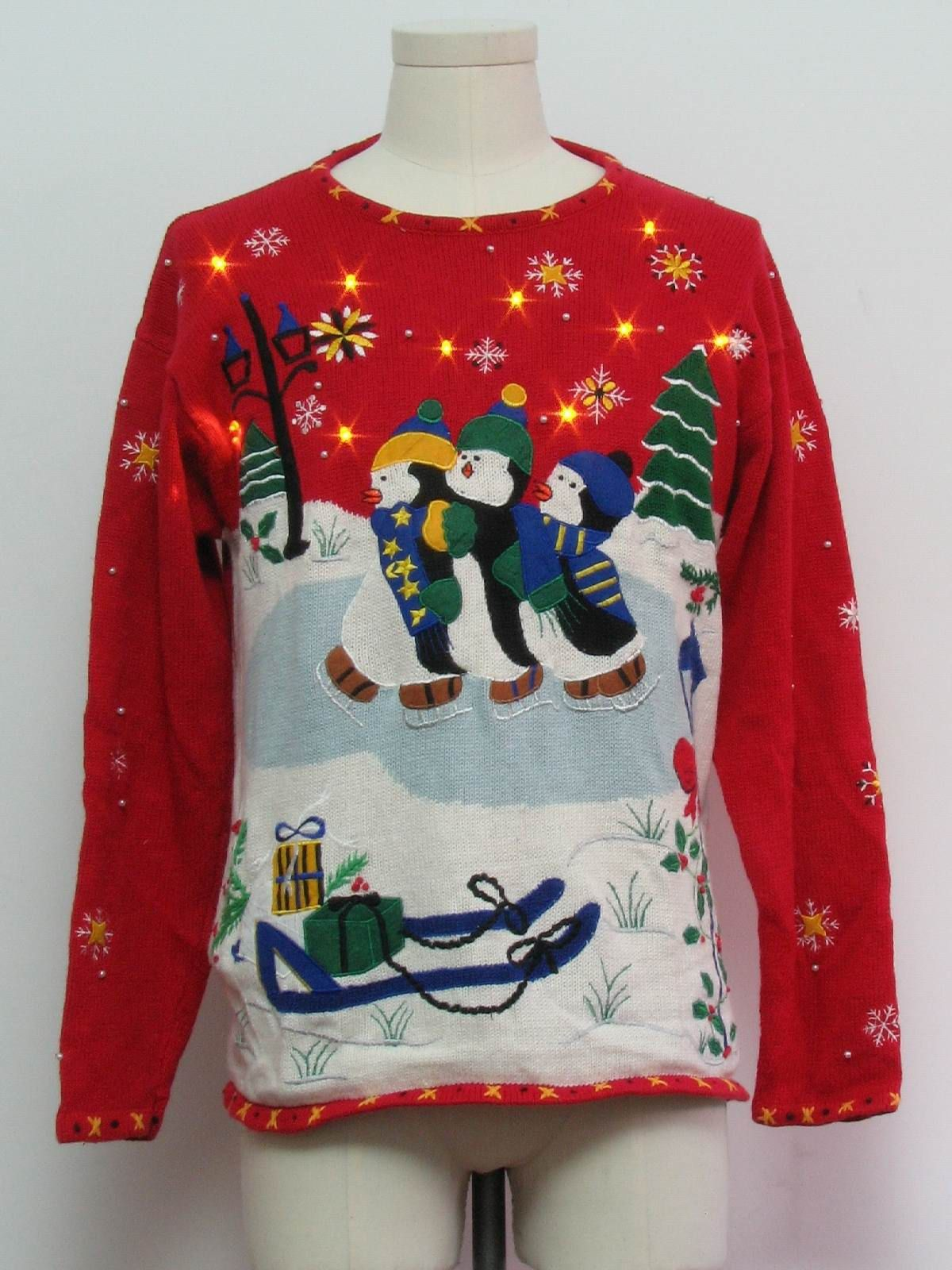 80s style -Designer Originals Studio HoHoHo- Unisex red background cotton ramie blend pullover longsleeve Ugly Christmas Extra Bright Amber ...