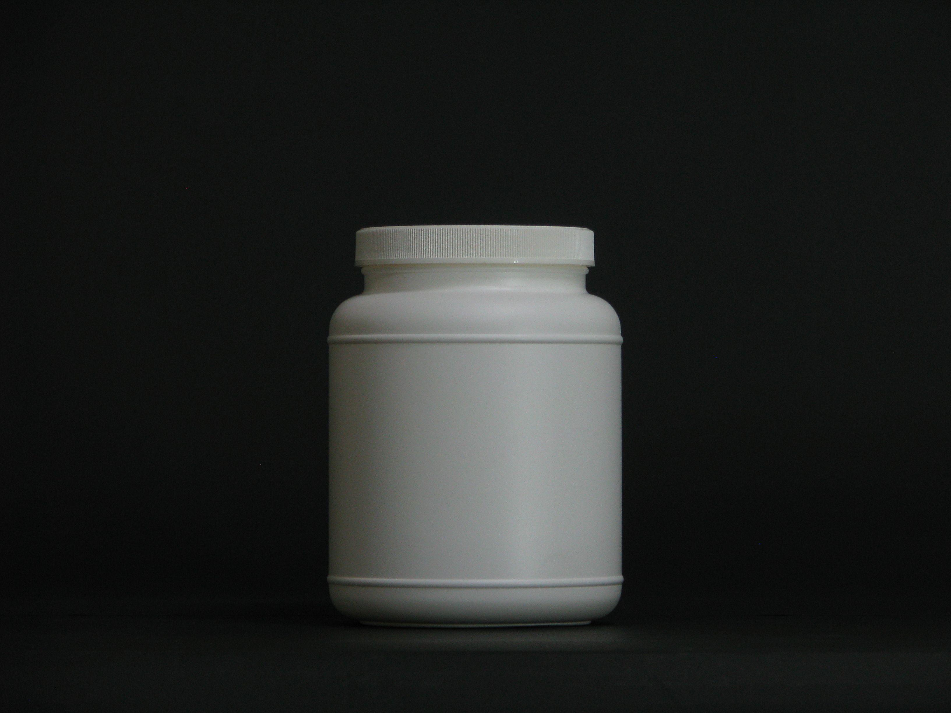 2000ml white wild mouth protein powder container PE Pill