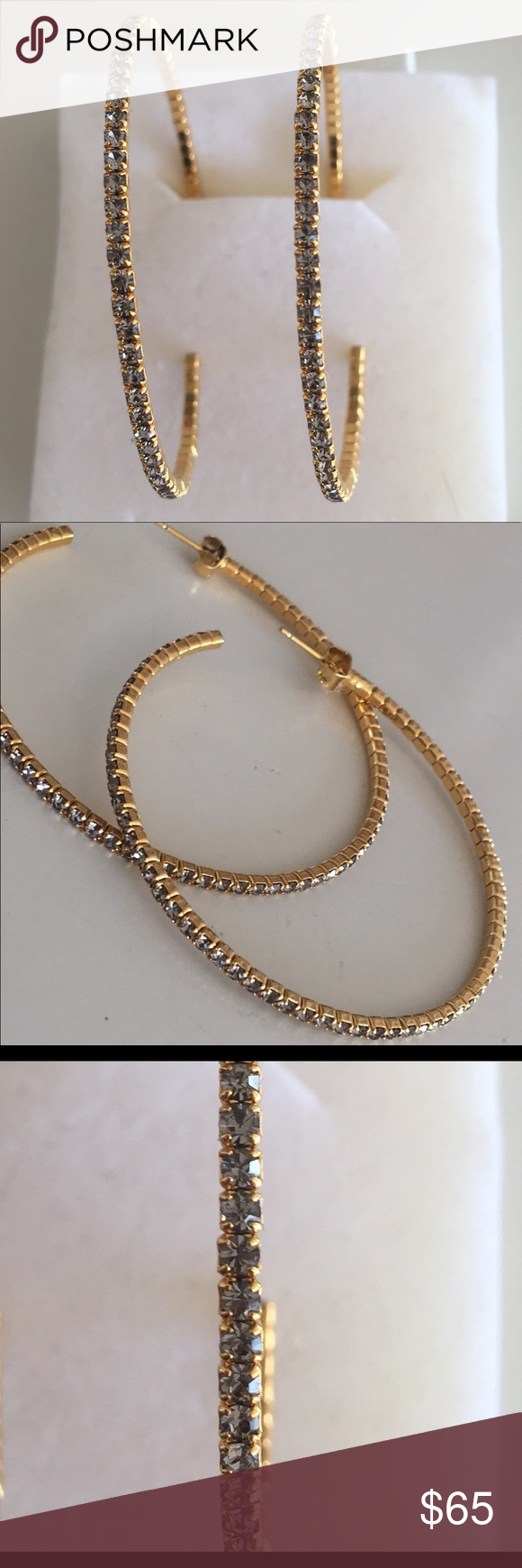 """2"""" Hoops Dipped by hand in Liquid 18K gold with set stones"""