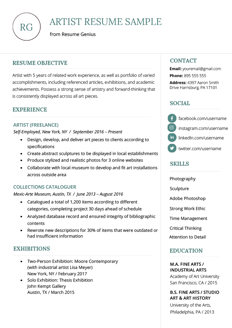 Artist Resume Sample & Writing Guide Artist resume, Best