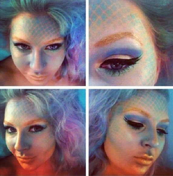 Mermaid Makeup Make Scales With Fishnets And Your Airbrush Or Stippling Brush