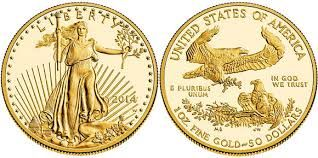 2014 American Gold Eagle. One ounce of fine gold, with a legal tender value of $50.00