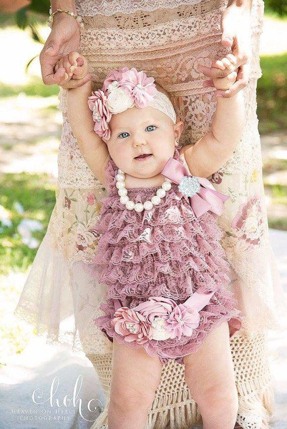 8e608e15626b Dusty Rose Lace Romper~Baby Lace Romper~Lace Romper Newborn~Coming ...