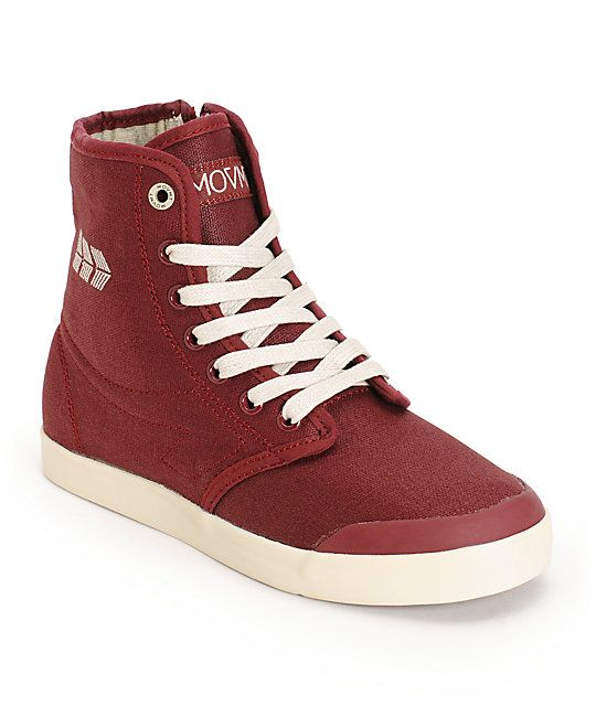 b95bd32551da An Eco-friendly Wine organic cotton canvas high-top design with a medial  side zipper provides a stylish hybrid boot look.