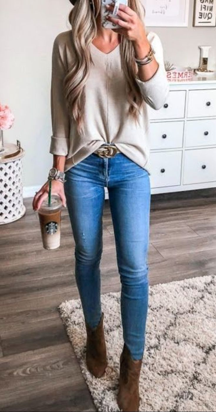High Heel Ankle Boots Outfits With Blue Jeans For Ladies