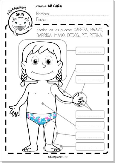 Partes del cuerpo ficha gratis en ingl s y espa ol - Como estudiar ingles en casa ...