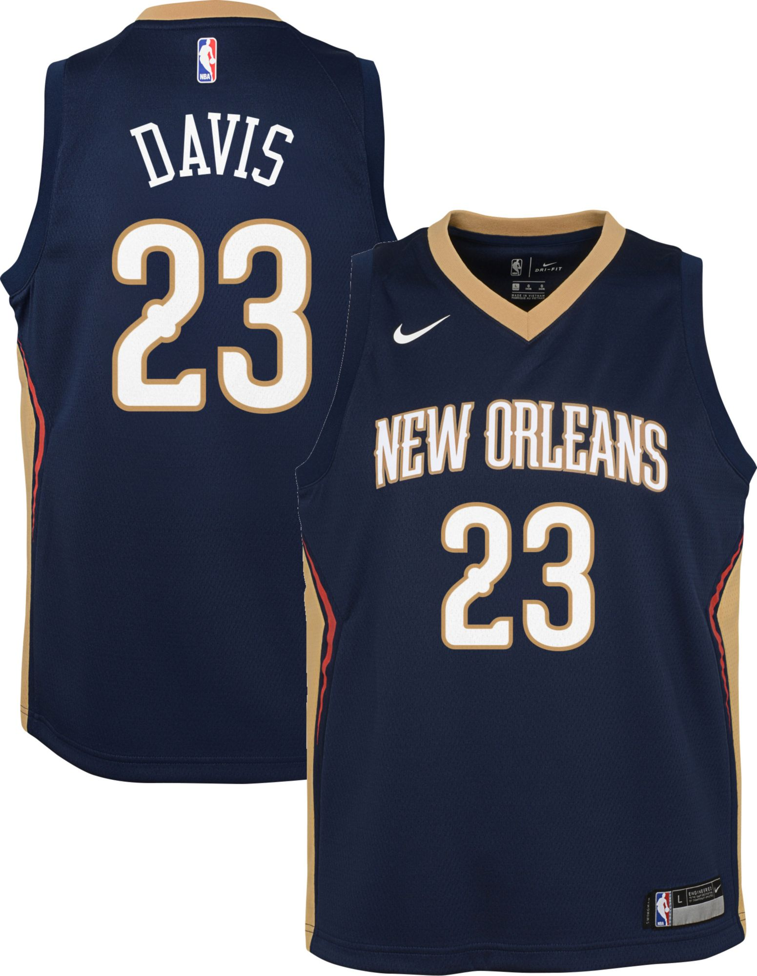 size 40 5c41c feab5 Nike Youth New Orleans Pelicans Anthony Davis #23 Navy Dri ...
