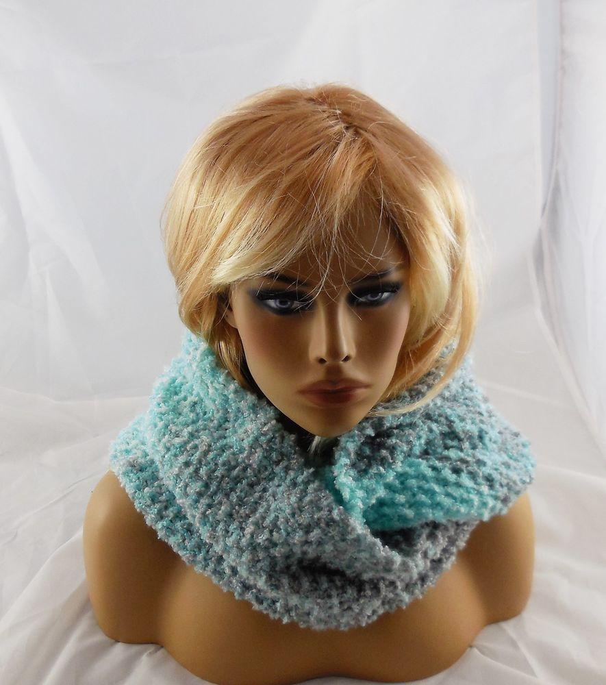 "NEW handmade knit COWL INFINITY SCARF Boucle Yarn/Turquoise/white/gray 60x10"" #Handmade #CowlInfinity"