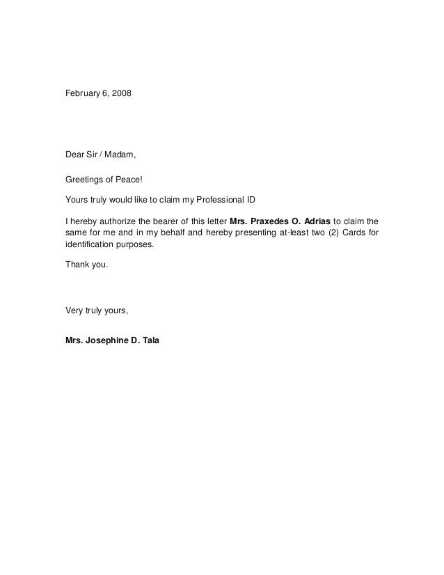 Letter Of Authorization Letter Authorization Letter Free Sample
