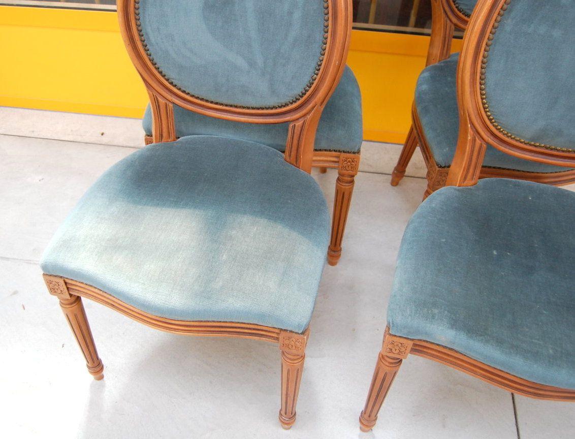 4 sedie in stile Luigi XVI a medaglione in faggio massello ...
