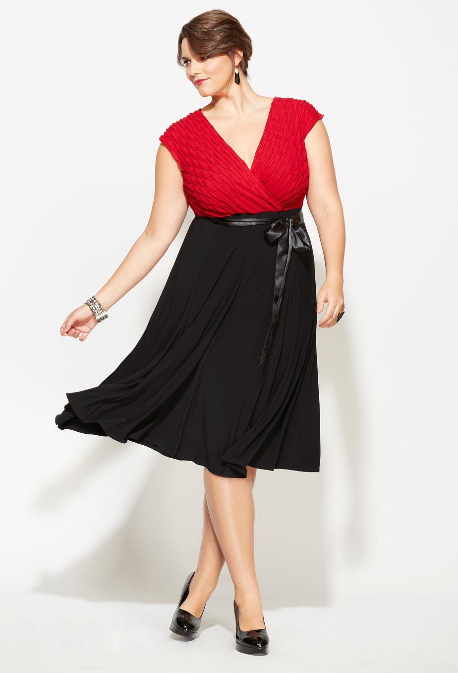Plus Size Belted Two Tone Dress | Plus Size Dresses | Avenue