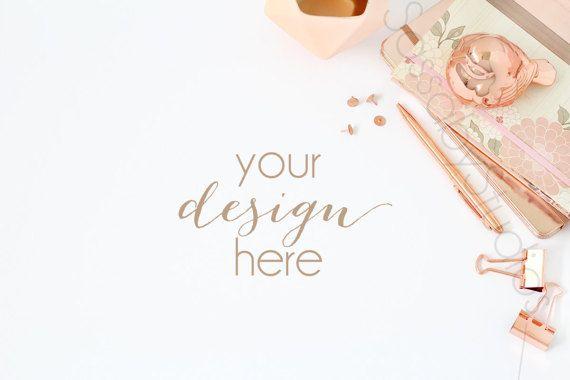 Rose Gold Desk Styled Stock Photography / by SassabyStudios