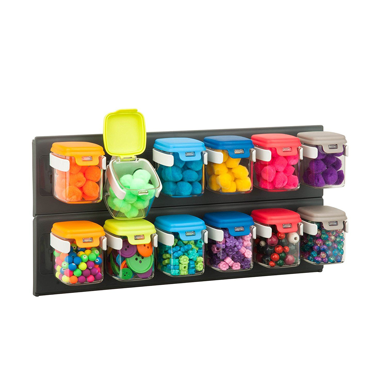 Honey Can Do Sto 06627 Flip 12 Wall Mounted Organizer, Removable Flip Lid
