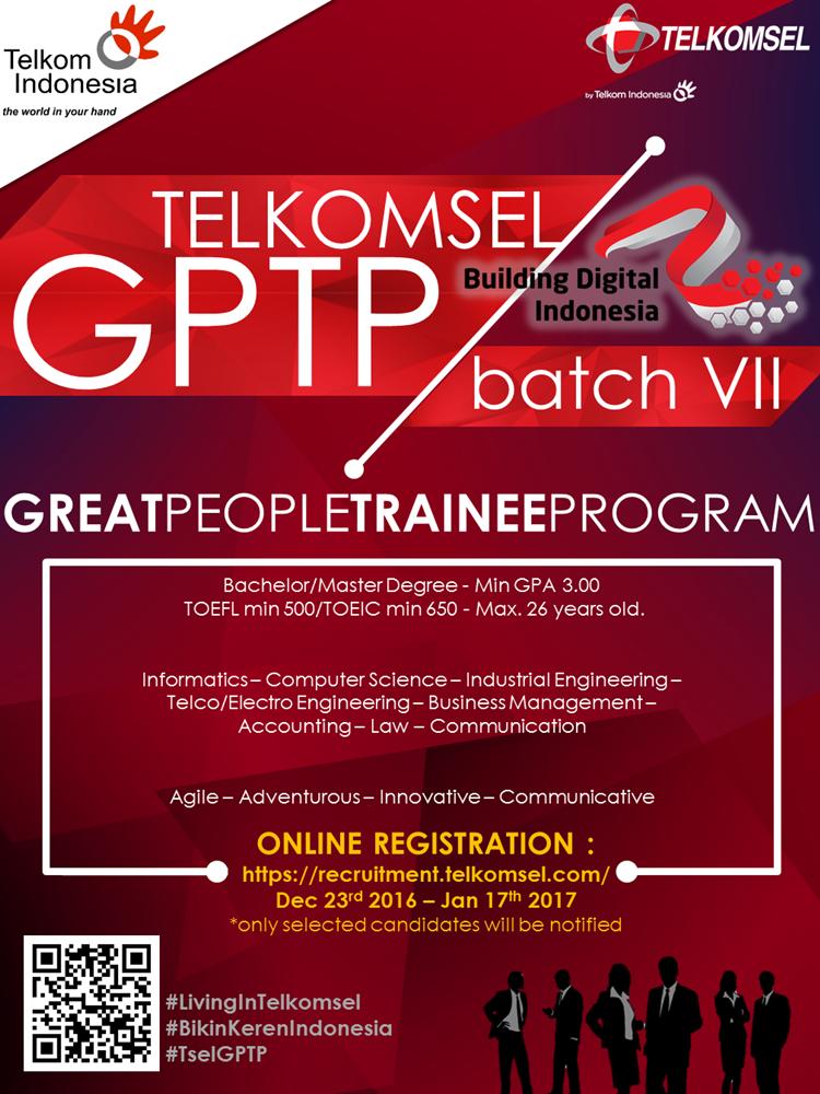 Gptp Telkom : telkom, JOIN!, GREAT, PEOPLE, TRAINEE, PROGRAM, (GPTP), Batch, Telkomsel, Bachelor, Master, Degree, Http://bit.ly/2hJsMCx, DEADLINE:, January, #itbcc