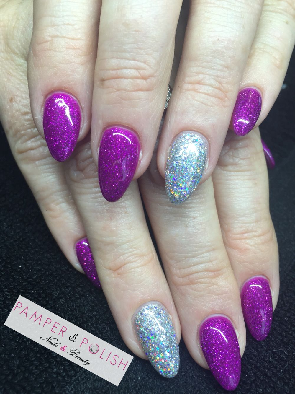 Stunning purple glitter nails using Gellux gel polish and Hologram ...