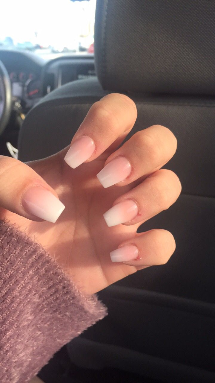 French Fade Coffin Nails Acrylicnailsstiletto Ombre Acrylic Nails Faded Nails Short Acrylic Nails
