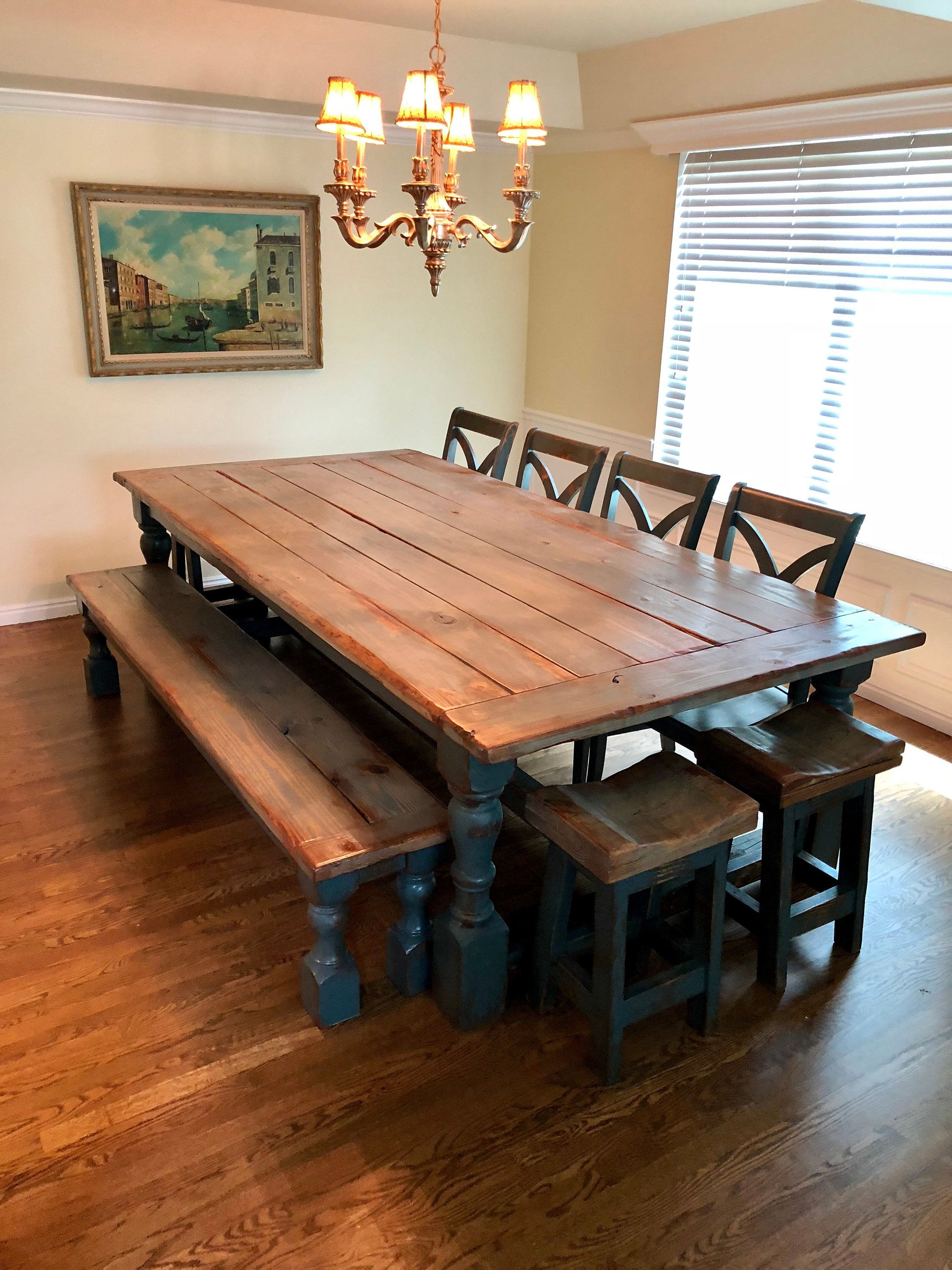Rustic New England Farmhouse Table Bench 4 Stools 4 Chairs Etsy In 2020 Farmhouse Dining Room Table Farmhouse Table With Bench Farmhouse Dining Table
